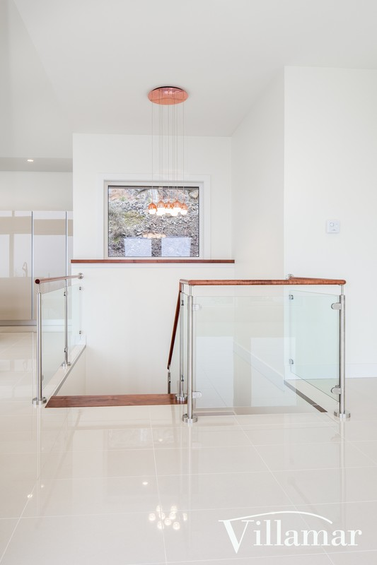 modern stairs railing glass aluminum builder design victoria bc