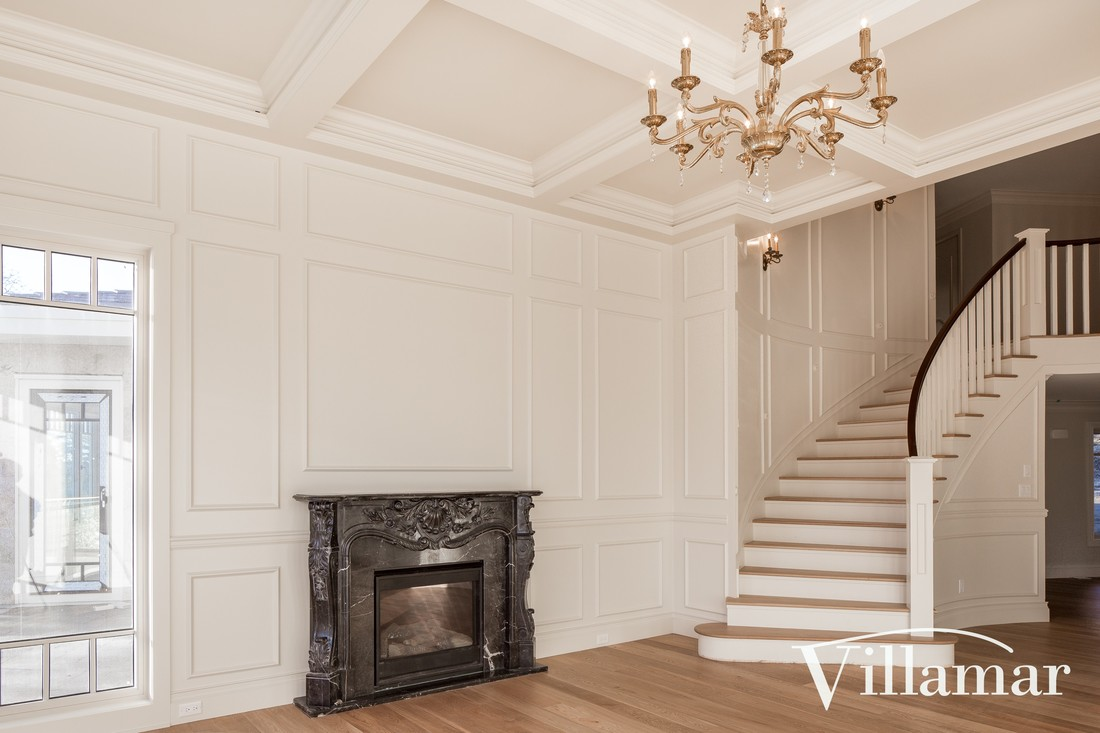 fireplace coffered ceiling traditional designer plans villamar